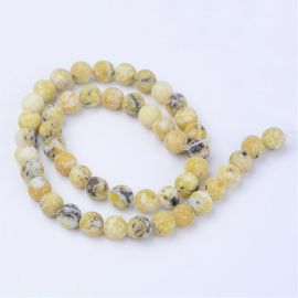 Natural yellow turquoise beads, 6-7 mm., 1 strand