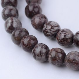 Natural snow obsidian beads, 6 mm., 1 strand