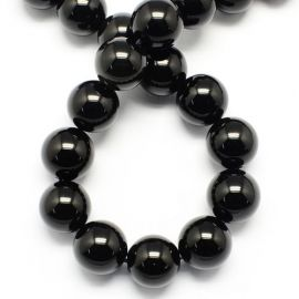 Obsidiano karoliukai, 6 mm., 1 gija