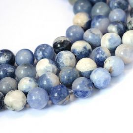 Natural sodalite beads. Blue color, round, 8-9 mm., 1 thread