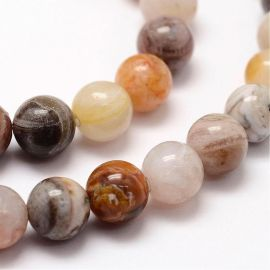 Natural bamboo agate beads, 8 mm., 1 strand