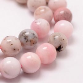 Natural pink opal beads, 10 mm., 1 strand