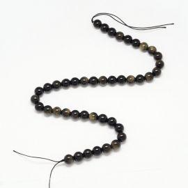 Natūralūs obsidiano karoliukai, 8 mm., 1 gija