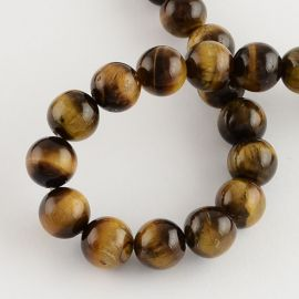 Natural beads of the tiger eye, 8 mm., 1 strand