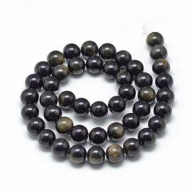 Natūralūs obsidiano karoliukai, 12 mm., 1 gija