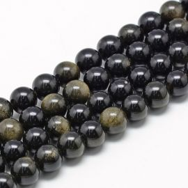 Natural obsidian beads, 12 mm., 1 strand