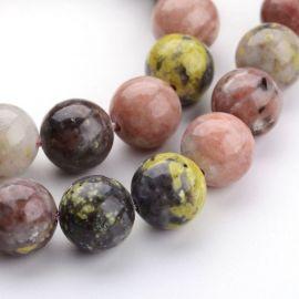 Natūralūs akmeniniai karoliukai, 10 mm., 1 gija