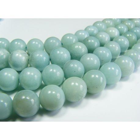 Amazonite stone beads azure color aval shape 8 mm