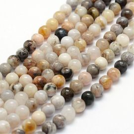 Natural bamboo agate beads, 6 mm., 1 strand