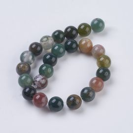 Natural Indian agate beads, 8 mm., 1 strand