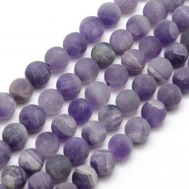 Natūralūs ametisto karoliukai . Violetinės spalvos, apvalios formos, kaina - 8,49 Eur už 1 gija
