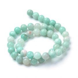 Natural amazonite beads . Greenish, round shape, 1 strand