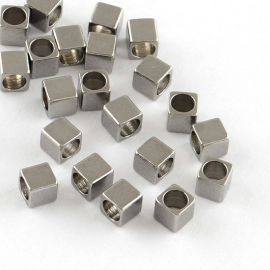 Stainless steel 304 spacer, 2.5x2.5x2.5 mm., 10 pcs. 1 bag