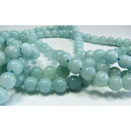 Amazonite stone beads azure round shape 6 mm
