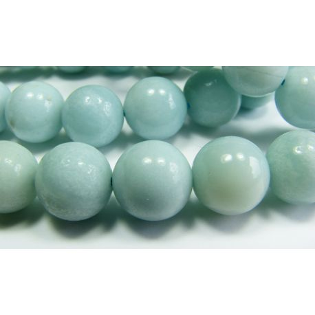 Amazonite stone beads azure color aval shape 10 mm