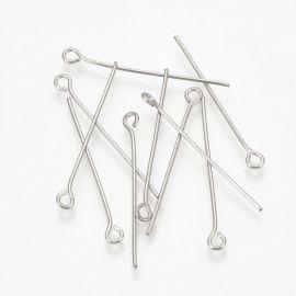 Stainless steel 304 pins . Nickel color, price - 1.4 Eur per ~100 pcs.