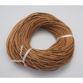 The cord of the natural skin has a specific smell - skin. Light brown, round, price - 0,61 Eur per 1 m.