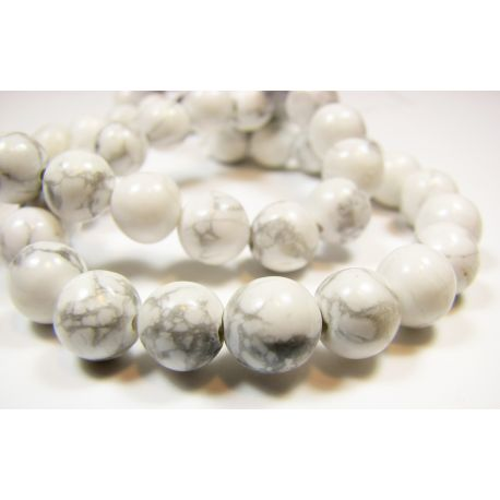Houlito beads white with gray stripes round shape 8mm