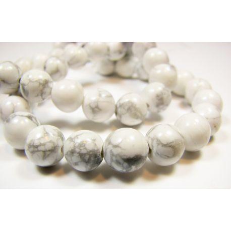 Houlito karoliukai baltos spalvos su pilkomis juostelėmis apvalios formos 8mm