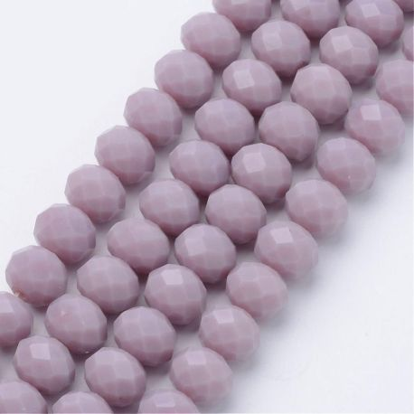 Stikliniai karoliukai . Kreminės spalvos su blizgesiu, rondelės formos, kaina - 2,8 Eur už 1 gija