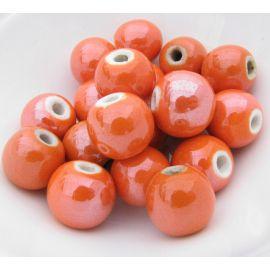 Handmade ceramic beads. Orange, irregular round shape, price - 0.25 Eur per 1 pcs