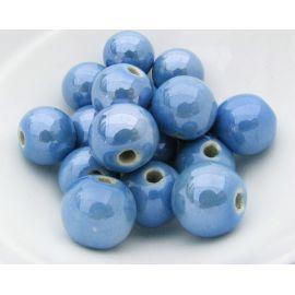 Handmade ceramic beads. Dark bluish, irregular round shape, price - 0.3 Eur per 1 pc