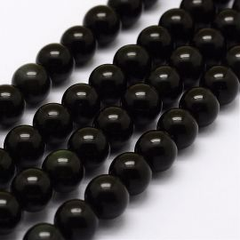 Green obsidian beads, 8 mm., 1 strand
