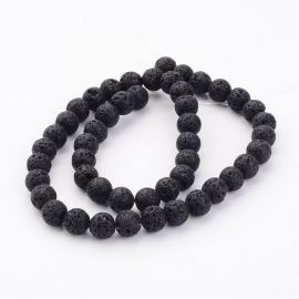 Natural lava beads, 8 mm., 1 strand