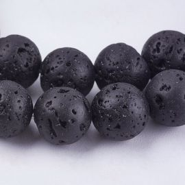 Natūralūs lavos karoliukai, 8 mm., 1 gija