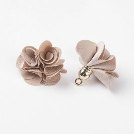 Decorative fabric flower with acricle hat. Dark beige size 25-30x28 mm