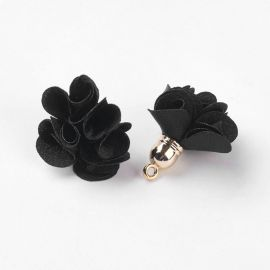 Decorative fabric flower with acricle hat. Black size 25-30x28 mm