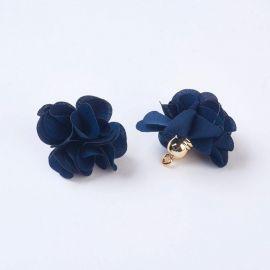 Dekoratyvinė medžiaginė gėlytė su akriline kepurėle, 25-30x28 mm., 2 vnt. 1 maišelis