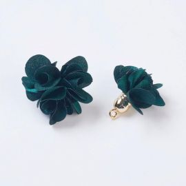 Decorative fabric flower with acricle hat. Dark green size 25-30x28 mm