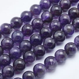 Natural amethist beads. Dark purple size 8 mm