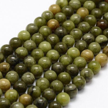 Natūralūs Nefrito karoliukai. Samaninės žalios (chaki) spalvos dydis 6-7 mm