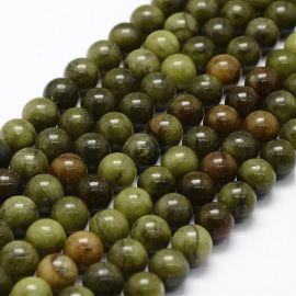 Natural nephritis beads. Moss green (khaki) size 8 mm
