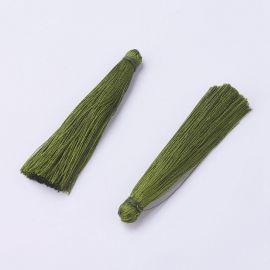 Polyester tassel. Moss (khaki) color, length 65 mm