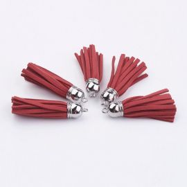 Suede cord tassel with beads caps, 55-65 mm., 1 pcs