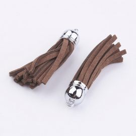 Suede cord tassel with hat. Brown, length 55-65 mm