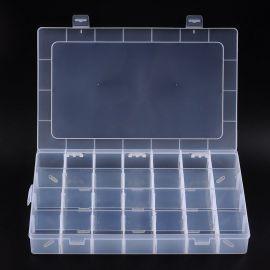 Plastikinė dėžutė rankdarbiams su skyreliais, skaidri