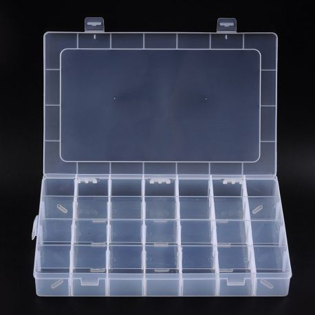 Plastic box for needlework with compartments, transparent