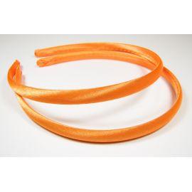 Lankelis plaukams, aptrauktas satinu, oranžinės spalvos 1 vnt., rankdarbiams, aksesuaras