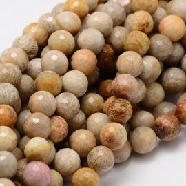 Natural Chrysanthemum pebbles, 8 mm., 1 strand