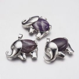 "Natural amethist pendant ""Elephant"", 37x29x10 mm., 1 pcs."