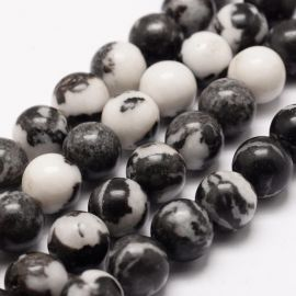 Natural beads of zebra Jaspi, 10 mm., 1 strand