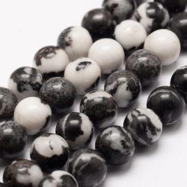 Natūralūs Zebrinio jaspio karoliukai, 8 mm., 1 gija