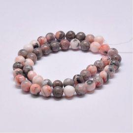 Natural beads from zebra jaspi, 8-9 mm., 1 strand