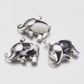 """Подвеска """"Слоник"""" из натурального зебры-джаспи. Белый с черными вставками размером 29х37х10 мм"""
