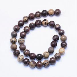 Natural beads of zebra Jaspi, 10 mm., 1 strand