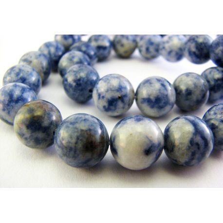 Lapis Lazuli karoliukai melsvai - baltos spalvos su gelsvomis dėmelėmis apvalios formos 10mm